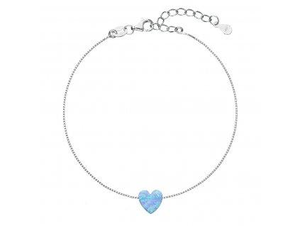 Stříbrný náramek se syntetickým opálem světle modré srdce 13018.3