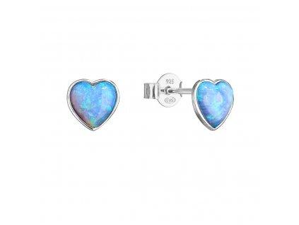 Stříbrné náušnice pecky se syntetickým opálem světle modré srdce 11337.3