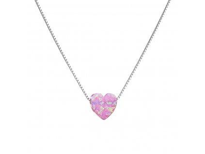 Stříbrný náhrdelník se syntetickým opálem růžové srdce 12048.3
