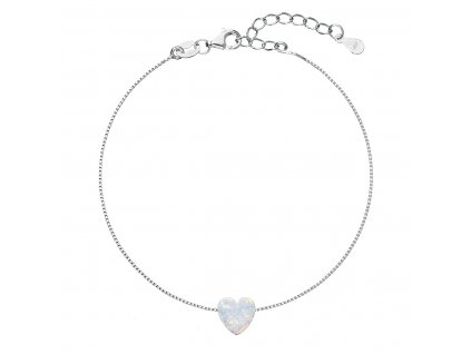 Stříbrný náramek se syntetickým opálem bílé srdce 13018.1