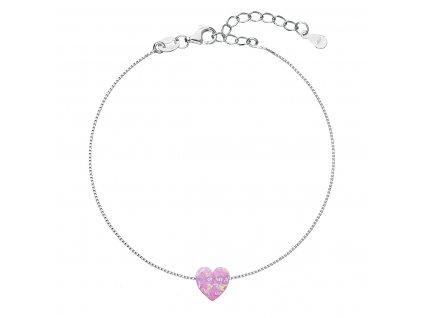 Stříbrný náramek se syntetickým opálem růžové srdce 13018.3