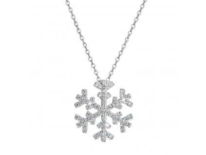 Stříbrný náhrdelník se zirkony sněhová vločka 12047.1