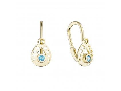 Zlaté dětské náušnice visací slzičky s modrým kulatým zirkonem 991016.3