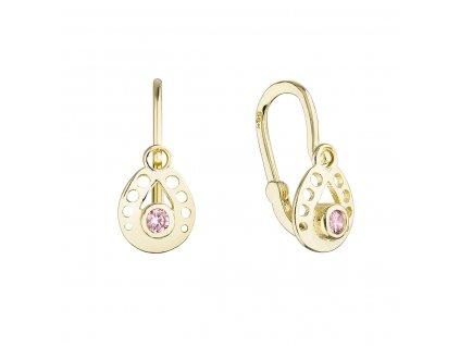 Zlaté dětské náušnice visací slzičky s růžovým kulatým zirkonem 991016.3