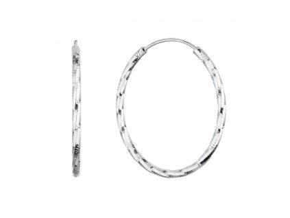 Stříbrné náušnice kruhy s ozdobným prolisováním 61007