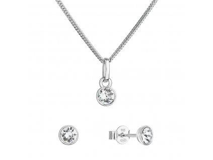 Sada šperků s krystaly Swarovski náušnice, řetízek a přívěsek kulaté 39177.1