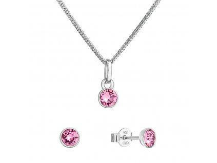 Sada šperků s krystaly Swarovski náušnice, řetízek a přívěsek růžové 39177.3 rose