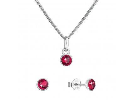 Sada šperků s krystaly Swarovski náušnice, řetízek a přívěsek červené 39177.3 ruby