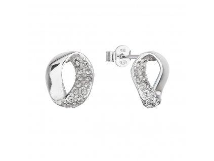 Stříbrné náušnice pecky s krystaly Swarovski oválné 31308.1