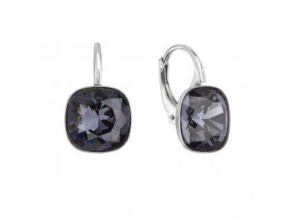 Stříbrné náušnice visací s krystaly Swarovski černý čtverec 31241.3