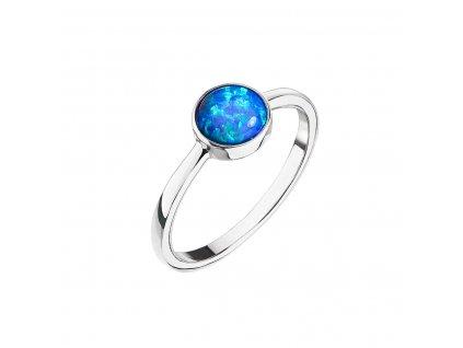 Stříbrný prsten se syntetickým opálem modrý kulatý 15001.3