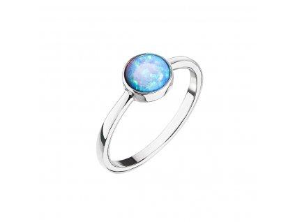 Stříbrný prsten se syntetickým opálem světle modrý kulatý 15001.3