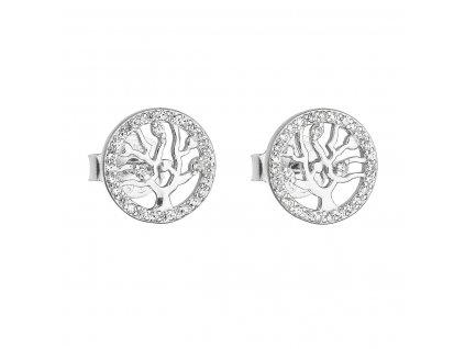 Stříbrné náušnice pecka se zirkonem v bílé barvě strom života 11218.1