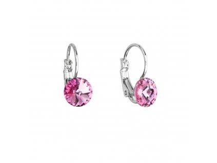 Náušnice bižuterie s Preciosa krystaly růžové kulaté 51031.3 rose