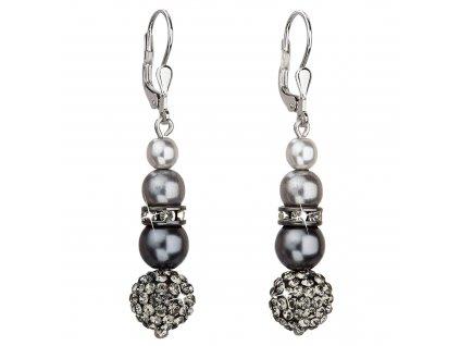 Stříbrné náušnice visací se syntetickými perlami a Preciosa krystaly šedé kulaté 31149.3