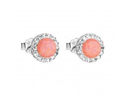 Stříbrné náušnice pecky se syntetickým opálem a Preciosa krystaly oranžové kulaté 31217.1 coral