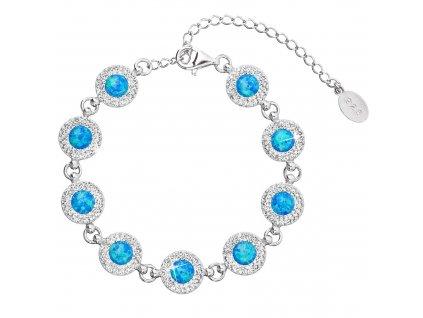 Stříbrný náramek se syntetickým opálem a krystaly Preciosa modrý 33105.1