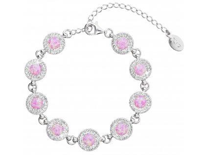 Stříbrný náramek se syntetickým opálem a krystaly Preciosa růžový 33105.1