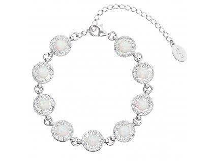 Stříbrný náramek se syntetickým opálem a krystaly Preciosa bílý 33105.1