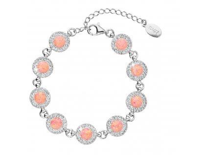 Stříbrný náramek se syntetickým opálem a krystaly Preciosa oranžový 33105.1