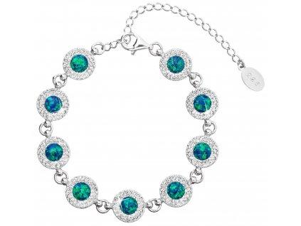 Stříbrný náramek se syntetickým opálem a krystaly Preciosa zelený 33105.1