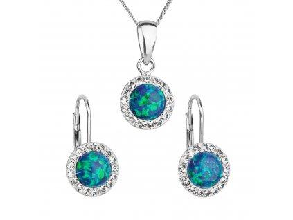 Sada šperků se syntetickým opálem a krystaly Preciosa náušnice a přívěsek zelené kulaté 39160.1