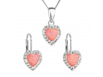 Sada šperků se syntetickým opálem a krystaly Preciosa náušnice a přívěšek oranžové srdce 39161.1