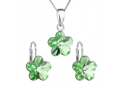 Sada šperků s krystaly Swarovski náušnice, řetízek a přívěsek zelená kytička 39143.3
