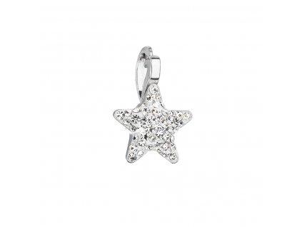 Stříbrný přívěsek se Swarovski krystaly bílá hvězdička 34259.1