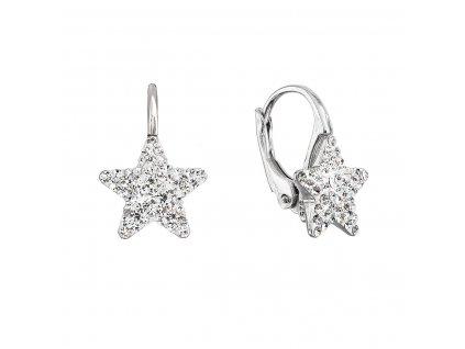 Stříbrné náušnice visací s Preciosa krystaly bílé hvězdičky 31311.1
