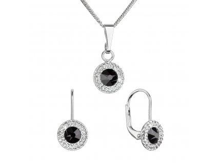 Sada šperků s krystaly Swarovski náušnice a přívěsek černé kulaté 39109.3 jet