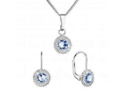Sada šperků s krystaly Swarovski náušnice a přívěsek modré kulaté 39109.3 lt. sapphire