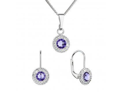 Sada šperků s krystaly Swarovski náušnice a přívěsek fialové kulaté 39109.3 tanzanite