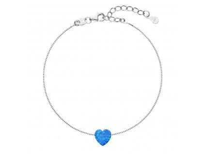 Stříbrný náramek se syntetickým opálem modré srdce 13018.3