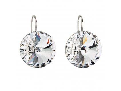 Stříbrné náušnice visací s krystaly Preciosa bílé kulaté 31153.1