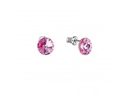 Náušnice bižuterie s Preciosa krystaly růžové kulaté 51037.3 rose