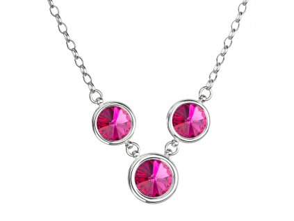 Stříbrný náhrdelník se Swarovski krystaly růžový kulatý 32033.3 fuchsia