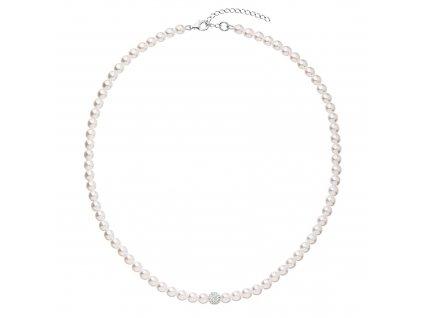 Perlový náhrdelník bílý s Preciosa krystaly 32063.1