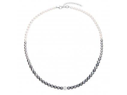 Perlový náhrdelník bílo-šedý s Preciosa krystaly 32065.3