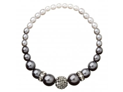 Perlový náramek šedý s Preciosa krystaly 33062.3