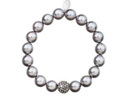 Perlový náramek šedý s Preciosa krystaly 33074.3