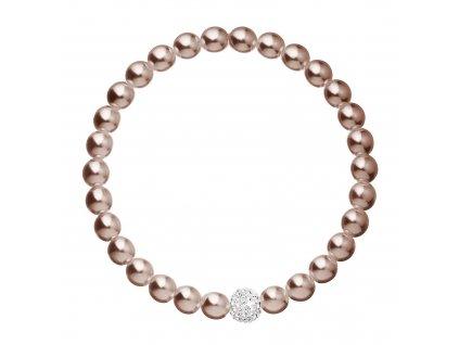 Perlový náramek hnědý s Preciosa krystaly 33115.3