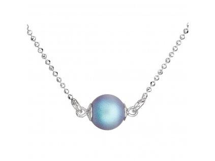 Stříbrný náhrdelník se světlemodrou matnou perlou 32068.3
