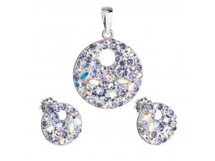 Sada šperků s krystaly Swarovski náušnice a přívěsek fialové kulaté 39148.3 violet