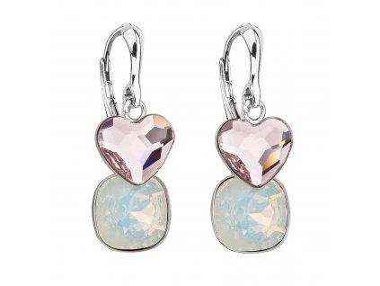 Stříbrné náušnice visací s krystaly Swarovski růžové srdce 31234.3 rosaline