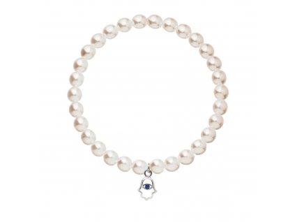 Perlový náramek ze syntetických perel bílý ruka fatimy 33116.3 bílá + sapphire