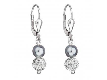 Stříbrné náušnice visací s Preciosa krystaly šedé kulaté 31244.3