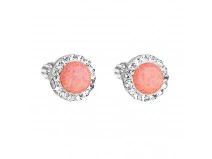 Stříbrné náušnice pecky se syntetickým opálem a Preciosa krystaly oranžové kulaté 31317.1