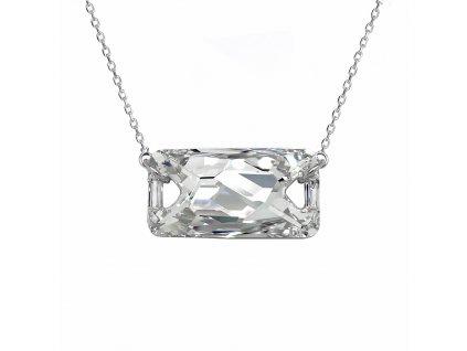 Stříbrný náhrdelník s krystalem Swarovski bílý obdélník 32070.5 crystal foiled