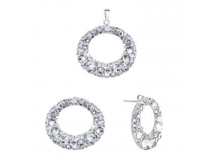 Sada šperků s krystaly Swarovski náušnice a přívěsek bílé kruhy 39168.1